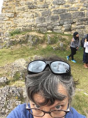 selfie at Incan ruins in Kuelap, Peru
