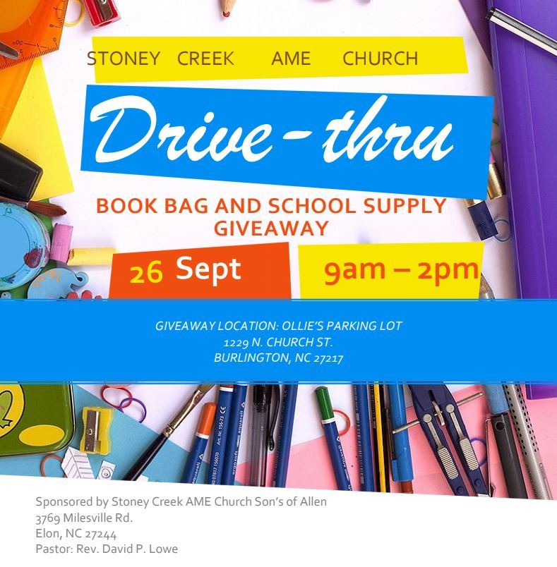 DRIVE-THRU BOOK BAG & SCHOOL SUPPLY GIVEAWAY