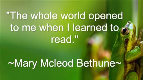 the whole world opened to me when I learned to read. mary mcleod bethune