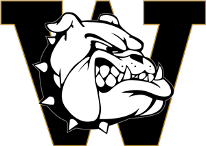 Bulldog with Black and gold W behind it