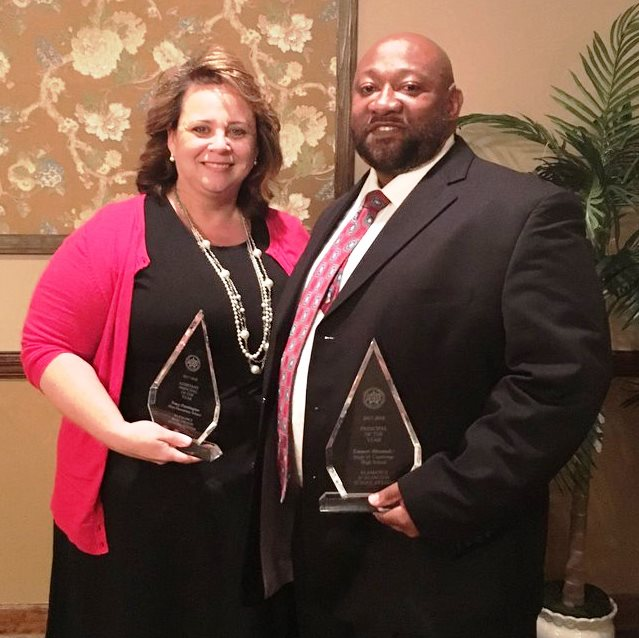 Assistant Principal of the Year, Tracey Pennington and Principal of the Year, Emmet Alexander