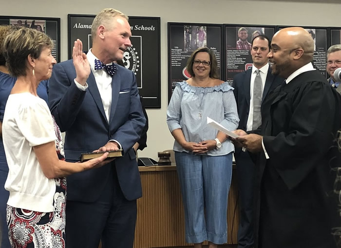 Congratulations to Dr. Bruce Benson, officially sworn in today as the new superintendent of Alamance-Burlington Schools!