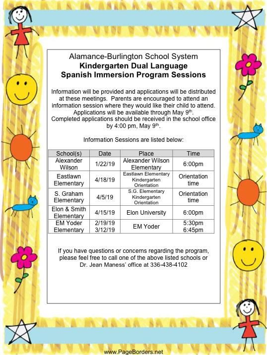 ABSS Kindergarten Dual Language Spanish Immersion Program Information Sessions