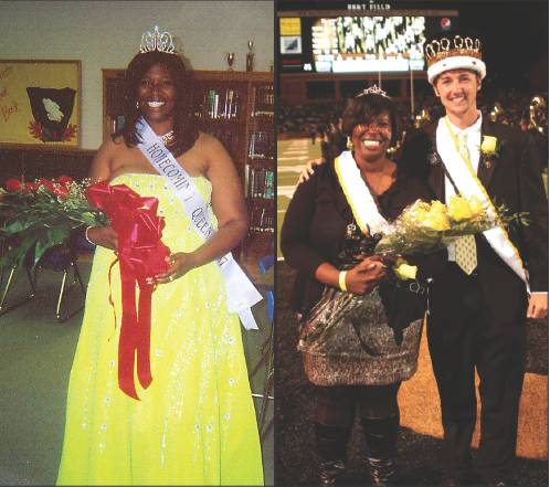 Derrica Barbee was crowned homecoming queen as a senior at Southern Alamance in 2008, left, and again as a senior this year at Wake Forest University, along with Homecoming King Roman Nelson.
