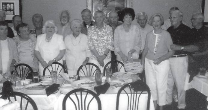 The Pleasant Grove Class of 1951 held its 60-year reunion recently at Maria's Café. Shown front row, from left, Lillie Eudy Capps, Peggie Culler Massey, Sarah Minton Gilbertson, Betty Councilman Dickens, Billie Blanchard Murphy, Delois Murray Strickland, Libby Anderson Smith and Holt Boone. Back row, Bud Durham, Donald Pennington, Doris Rackley Jones, Bobby Oliver, Bobby Cobb, Donald Smith, Bennie Smith, John Boswell and Sylvester McKinney.