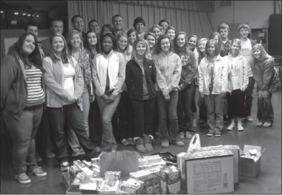Southern High School juniors in Ms. Lynn Bare's AP Language and Composition class recently collected nearly 800 individual servings of food to donate to the E. M. Holt Elementary Southern Hospitality Back Pack Food Program. Each Friday, elementary students in need receive a book bag filled with food and snacks to take home for the weekend.