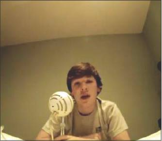 Eastern Alamance High School freshman Jake Foushee does a voiceover before posting it online.