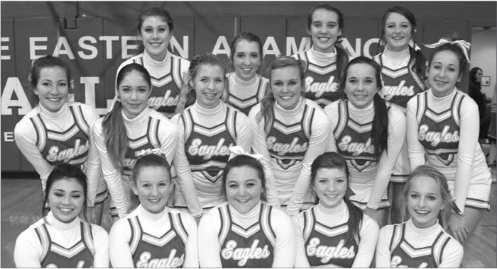Your Eastern Alamance High School JV cheerleaders for the winter season 2013-2014 are Kendra Piccini, Keirstin Kimrey, Co-Captain Lauren Kirby, Mollie Whipp, Raygan Gilliam, Jillian Daly, Kensley Wyatt, Kati Schy, Captian Claire Shannon, Claire Parker, Christian Dixon, Taylor Connolly, Melinda Caddle, Co-Captain Brianna Carter, Karis Carlton, and Emilee Woods.