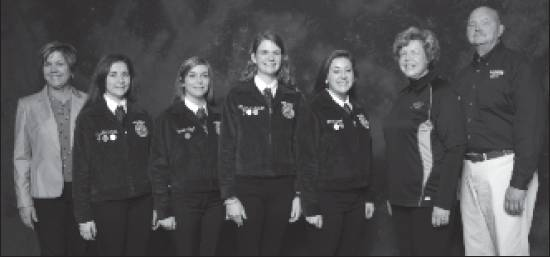 Competing for the fi rst time in the National FFA Horse Evaluation Career Development Event that included 170 participants, the Southern Alamance High School FFA team earned third-place national honors with Lauren Lloyd earning eighth-place High Individual honors. Team members included Lauren Lloyd, Jacy Kirkpatrick, Allyson Patterson and Lillie Whetzel. Advisor is Mrs. Lynn Stas. From left, are team advisor Lynn Stas, Jacy Kirkpatrick, Lauren Lloyd, Allyson Patterson and Lillie Whetzel pictured with national sponsors.