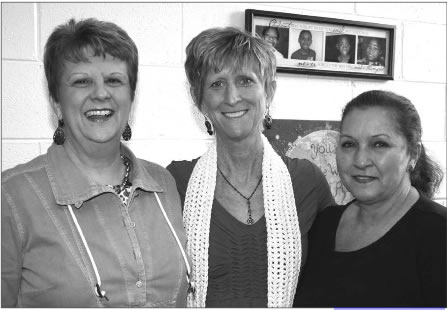 South Mebane Elementary School Principal Rebecca Royal (center) stands with the school's beloved secretary Jane Love (left) and custodian Shirley King (right) last Thursday. Love and King are retiring this week.