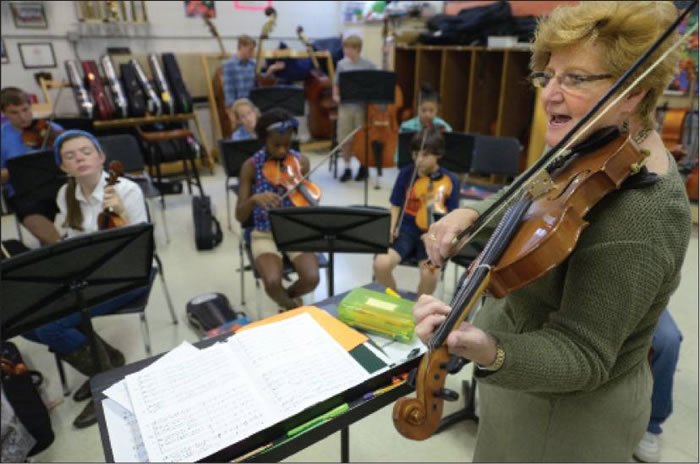 "Turrentine Middle School orchestra director Jody Gaedtke helps eighth-graders with the song ""Spirit of the American West"" on Wednesday during class at the school."