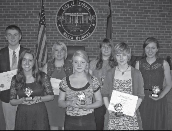 High School Winners for 2014 are, front row, from left, Jamie Rollins, Audrey Simpson and Bek Brannock. In the back row are Noah Basil, Leah Rudd, Kaitlin Gillespie and Rebekah Davidson. Not shown are Larrysa Lankhamdeng and Claire Blackwell.