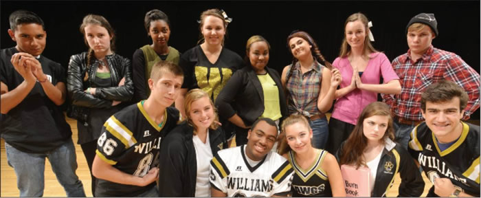 "Above is the cast of Williams High School's Homecoming Show, ""George's Empire State of Mind,"" which will be performed at 7 p.m. Tuesday in the high school auditorium, 1307 S. Church St., Burlington. Tickets are $5 for students and $7 for adults and can be purchased at the door."