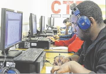 Sophomore Javeyon Vaughn works on a computer Friday during Introduction to Computer Science class at Cummings High School.