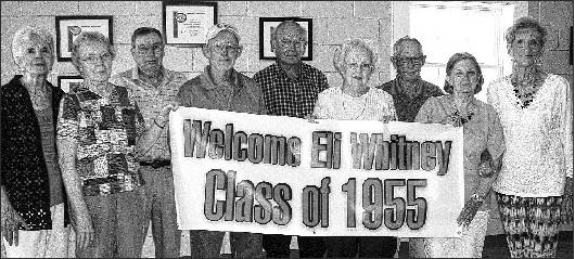 Eli Whitney High School's class of 1955 held its 60th anniversary reunion Aug. 22 at the Eli Whitney Community building. Attending from left are Beckie (Moore) Hargrove, Carol (McBane) Guthrie, Jack Pickard, David McBane, John Braxton, Frances (Graves) Maness, Joe Bill Lindley, Alice (Bradshaw) Simpson and Edith (Woody) Lloyd. Not present were Katie (Boggs) Bowden, Jo (Roberson) Foust, Robert Thompson and Julian Thompson. Those deceased are Larry Woody, Patricia (Payne) Rogers, W. A. Braxton, C. A. Roberson, Sam Jones, Billy Riley, Charles McBane, Margaret (Dixon) Crutchfield, Max Perry and George Zachary.