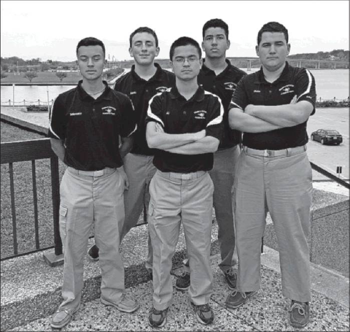 "From left, Jonathan Solorzano, Joseph Davis, Team Commander Yuuki Butler, Michael O'Brien and Blake Cole, Western Alamance High School's Navy JROTC Academic ""Brain Brawl"" Team, competed in the Navy JROTC National Brain Brawl on April 30 at the U.S. Naval Academy in Annapolis, Md. The team finished eighth out of more than 24 teams from around the nation. Questions were about naval history, navigation, oceanography, science, geography, sports, entertainment, trivia and current events. The cadets also toured the academy and met with midshipmen, and visited Annapolis, Arlington National Cemetery and the National Museum of the Marine Corps."