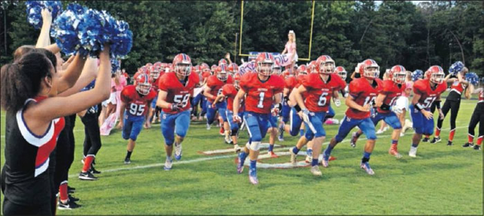 The Southern Alamance High School Patriots take the field for the Friday evening match with the Eastern Alamance High School Eagles.