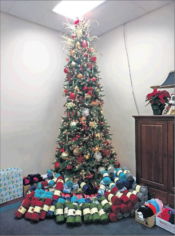 Sachdev and Hogan Dentistry of Burlington provided blankets, which were placed under the Christmas tree.