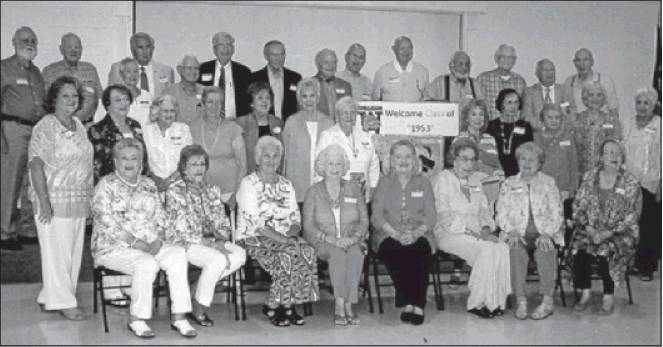 Thirty-four classmates and their spouses attended the 65th reunion of Williams High School's Class of 1953, held June 23. Pictured are, first row: Ann Puckett (Gilliam), Peggy Stone (Grainger), Barbara Lewey (Bivins), June Costner (Overman), Patricia Gordon (Qualls), Shirley Rollins (Shields), Shirley Newton (Jones) and Jane Elder (Moore); second row: Patricia Stewart (Alverson), Shirley Williams (Clodfelter), Coleen McPherson (Culberson), Vivian Hutchens (Wilson), Daphine Tillman (Williams), Racine Tickle (Rice), Bettie Lu White (Ayers), Barbara Alley (Simon), Janice Bare (Latta), Pat Carden (Hollan), Jo Ann Baynes (Wright) and Nadine Smith (Fuqua); and third row: Richard Hatch, Gene Martin, Barbara Fuqua (Price), George Montague, Don Moore, Don Matkins, Bobby Preddy, J.R. Mills, Bob Hair, Landon Goad, Bruce Mullis, Dave Harris, Philip Pruna and Albert Avinger.