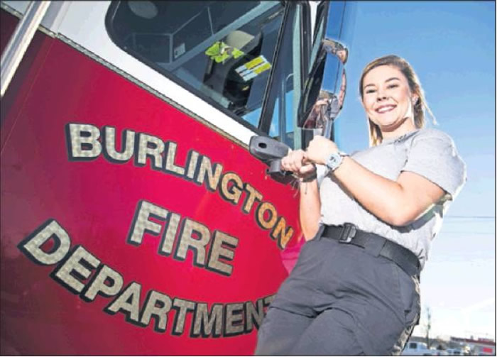 Peyton Clary, a senior at Williams High School and a Burlington Fire Explorer, is seen here at headquarters on Thursday, Jan. 24, in Burlington. Clary has opted for a firefighting career after helping to save a woman from drowning off the coast over the summer.